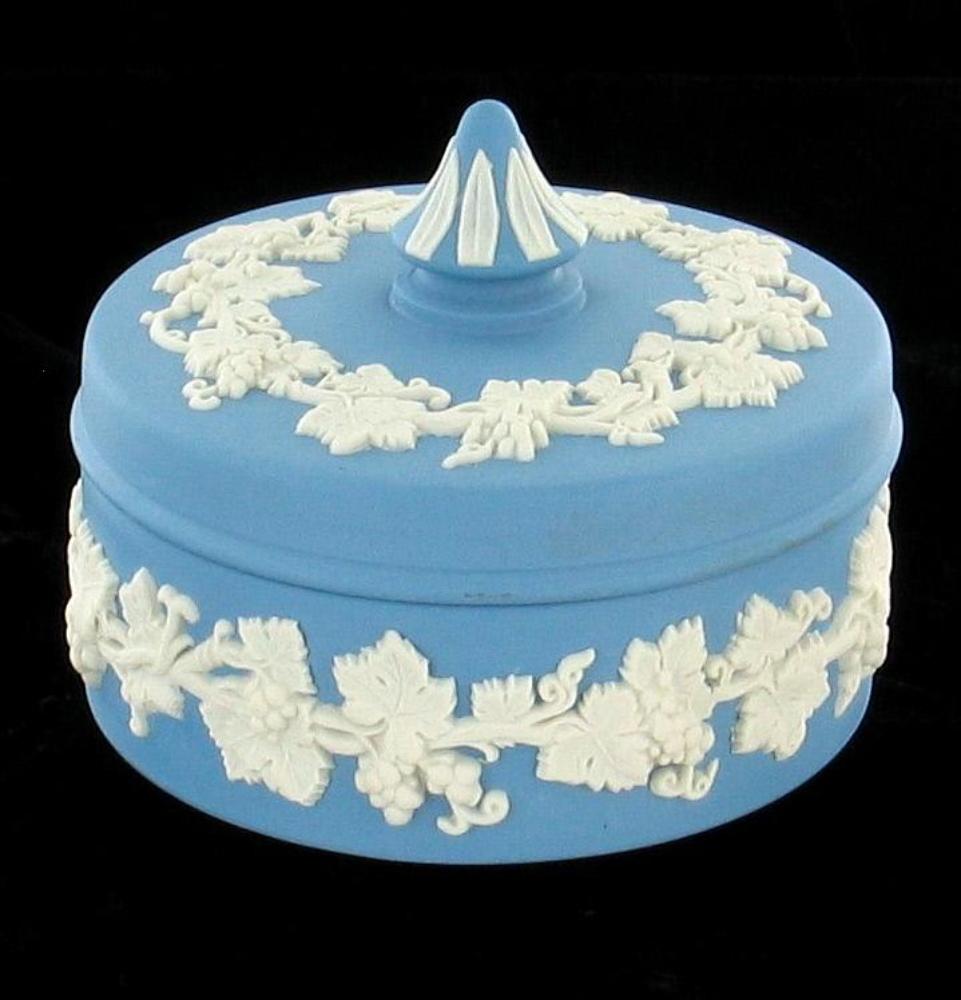 Vintage Blue Jasperware Wedgwood Trinket Vanity Dresser