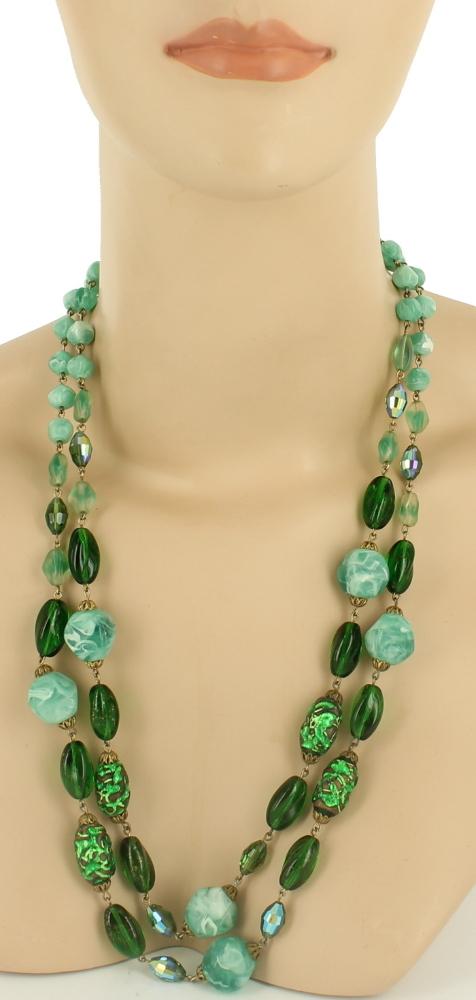 Dark Emerald Green Venetian Glass Beads