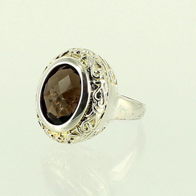 Smoky Quartz  Filigree Ring