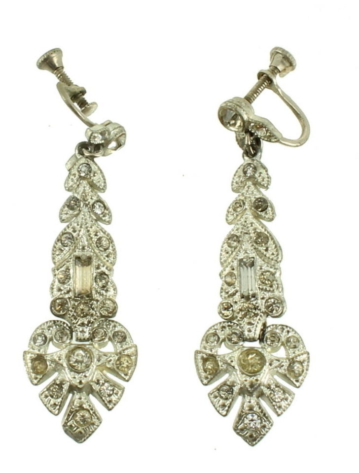 antique deco paste pave rhinestone baguette elegant long dangle earrings 2 ebay. Black Bedroom Furniture Sets. Home Design Ideas