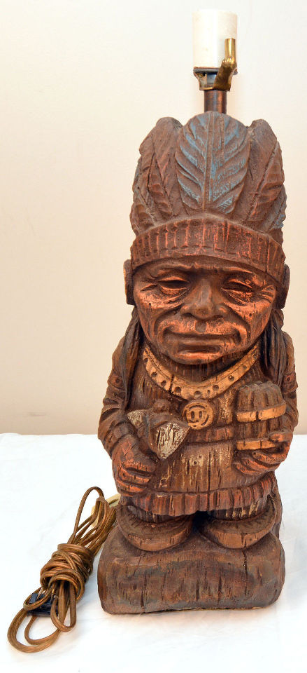 Vintage Smiling Native American Cigar Store Indian Chief