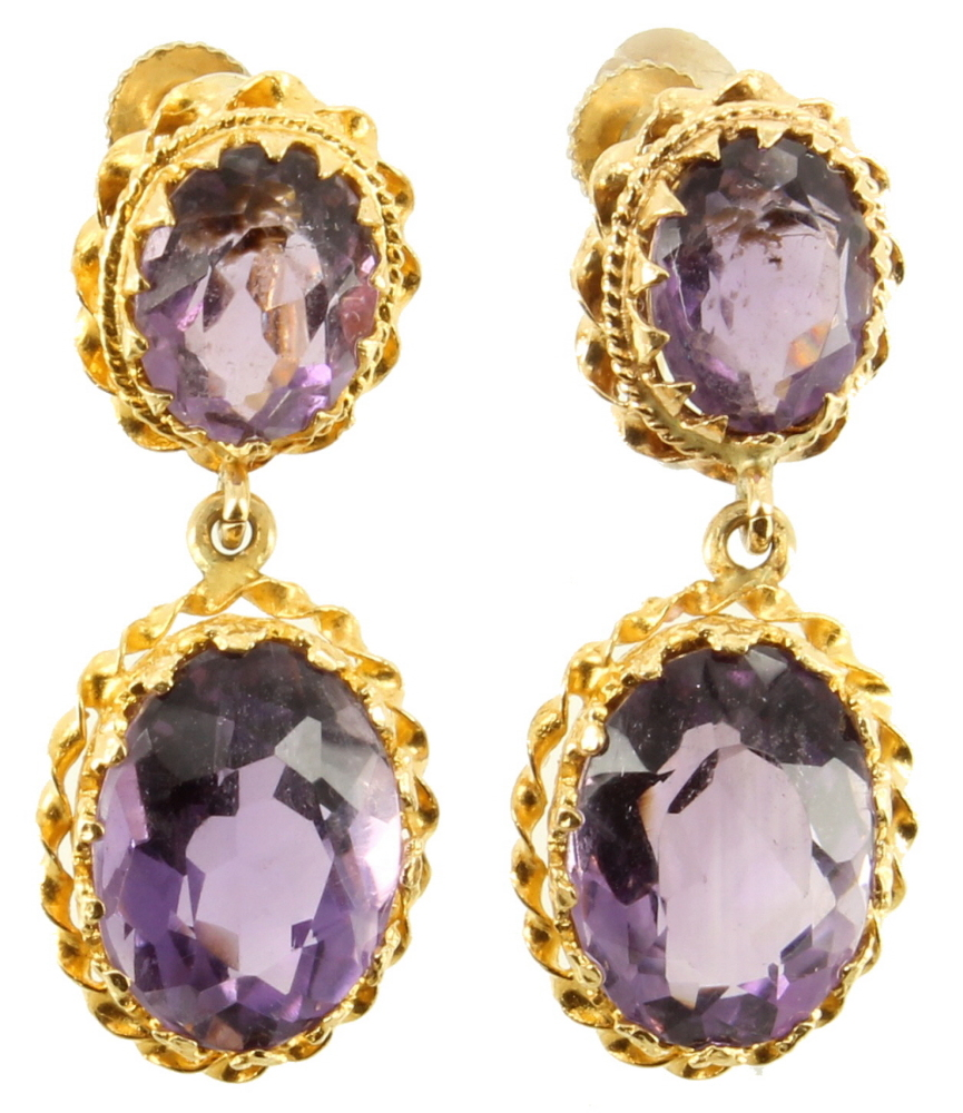 vintage 14k gold amethyst dangle drop earrings gorgeous. Black Bedroom Furniture Sets. Home Design Ideas