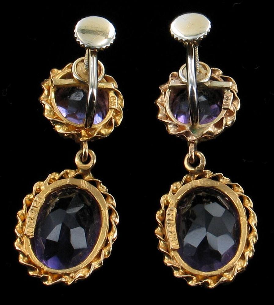 vintage 14k gold amethyst dangle drop earrings gorgeous. Black Bedroom Furniture Sets. Home Design Ideas