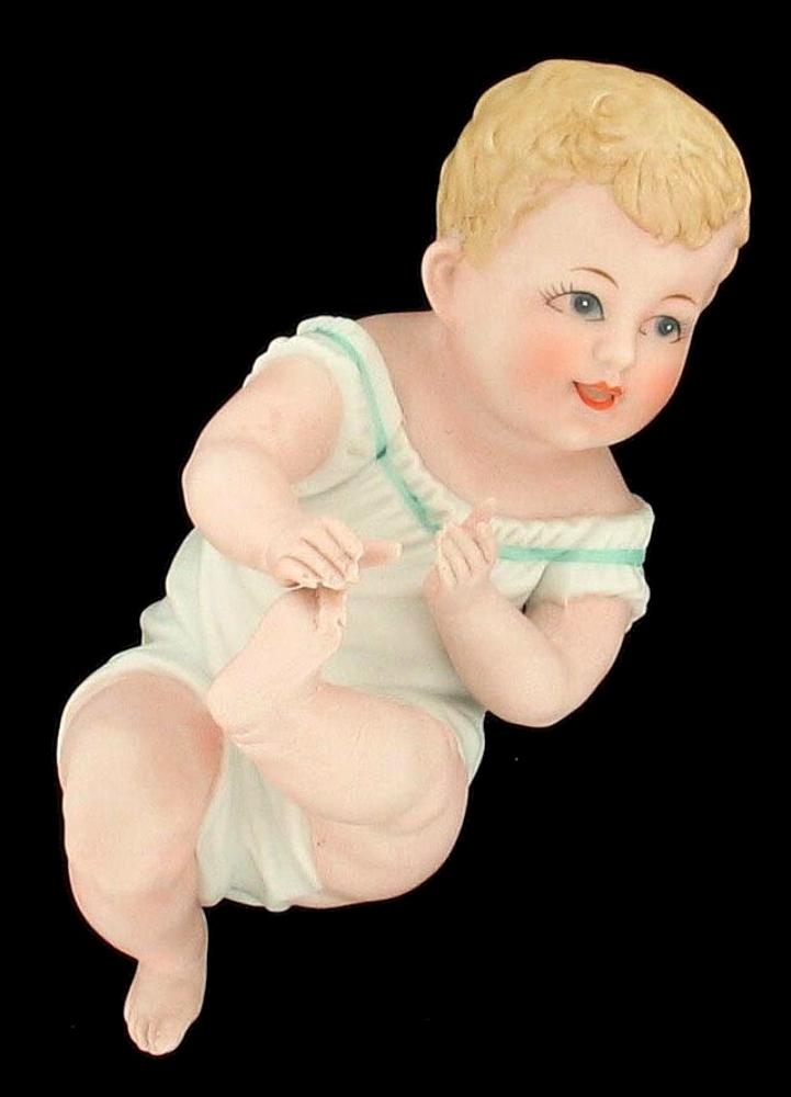 VINTAGE ADORABLE LITTLE BOY BISQUE PORCELAIN PIANO BABY