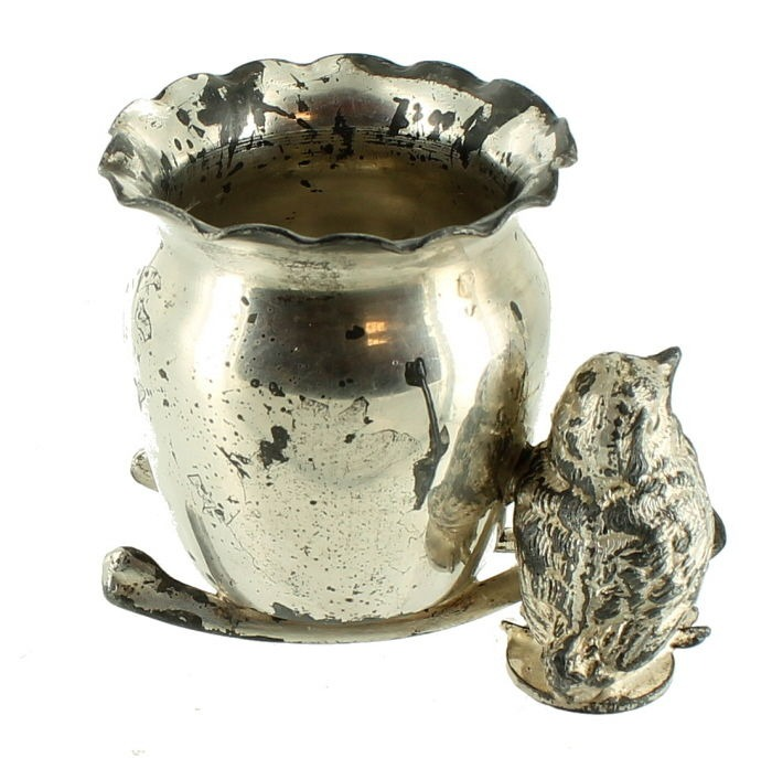 Antique Figural Derby Silver Plate Best Wishes Chick