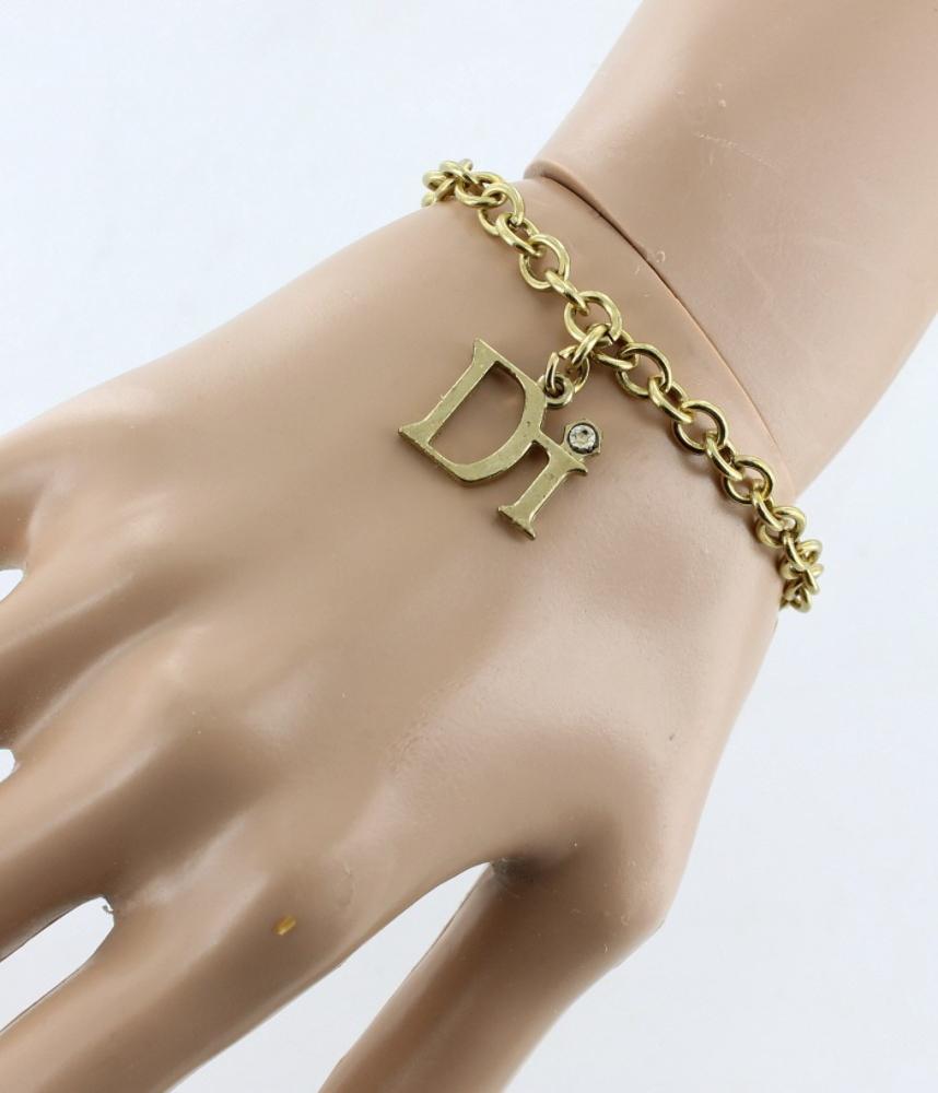 Vintage Diamond International Gold Tone Link Diamond Charm Bracelet  75