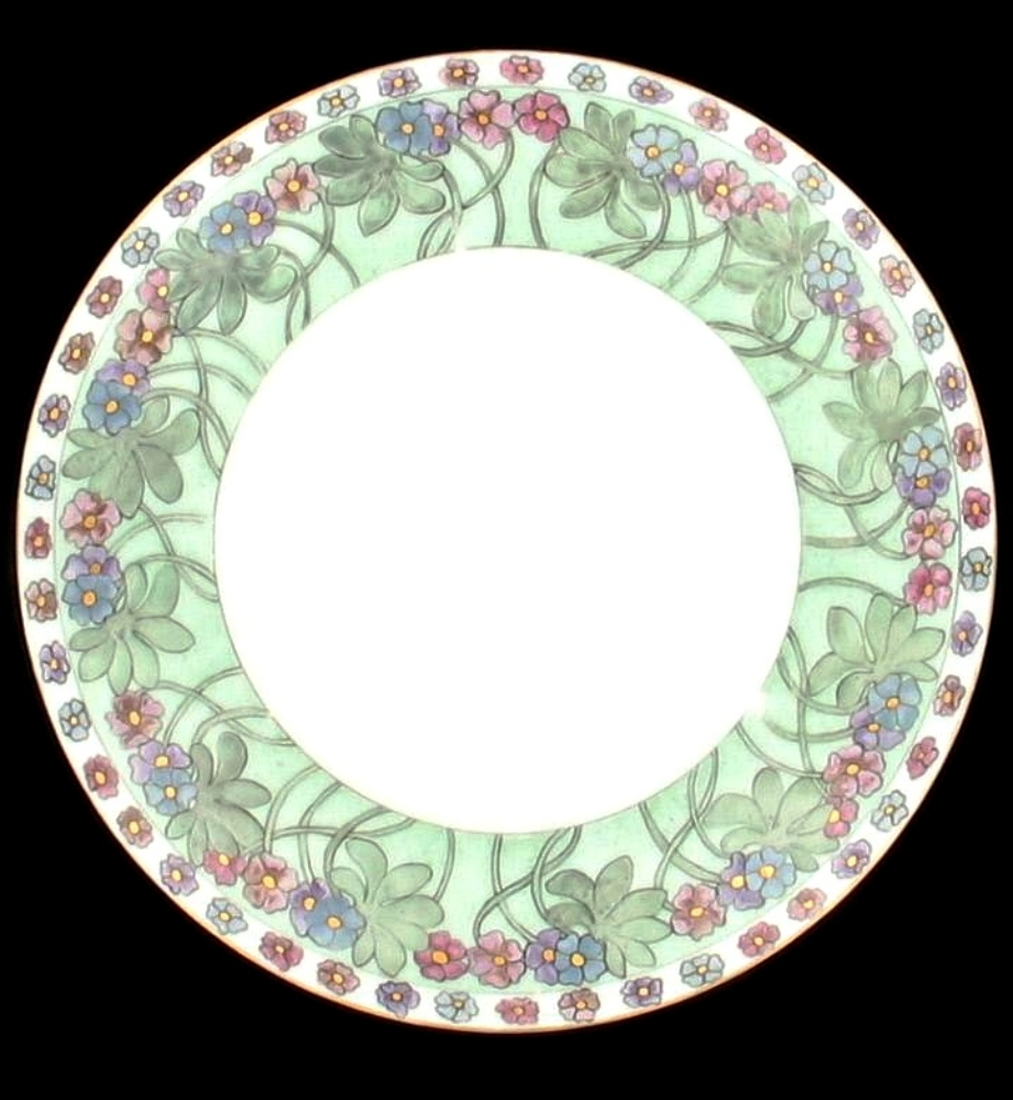 Antique bavaria 1911 floral green decorative wall plate for Decoration plates