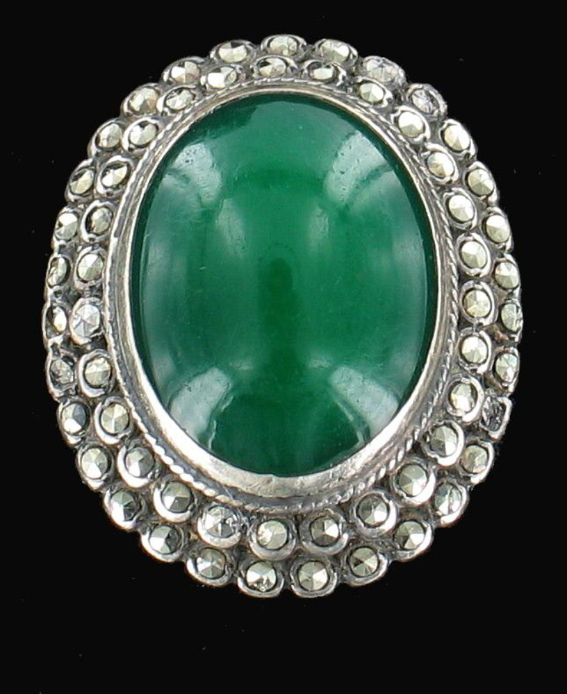 antique deco sterling marcasite large oval green