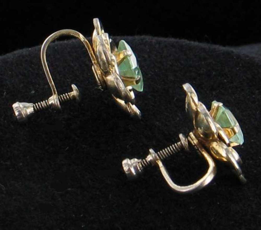 Vintage Sterling Flower Aqua Glass Screw Back Earrings