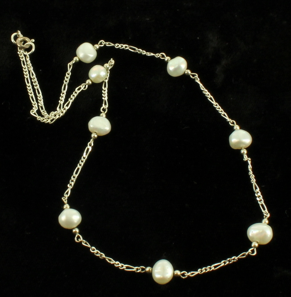 vintage sterling link chain baroque oval luster pearls delicate necklace 15 ebay. Black Bedroom Furniture Sets. Home Design Ideas