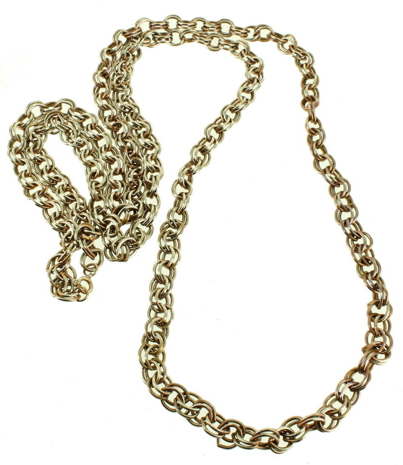 Vintage Double Link Gold Tone 8mm Thick Very Long Chain