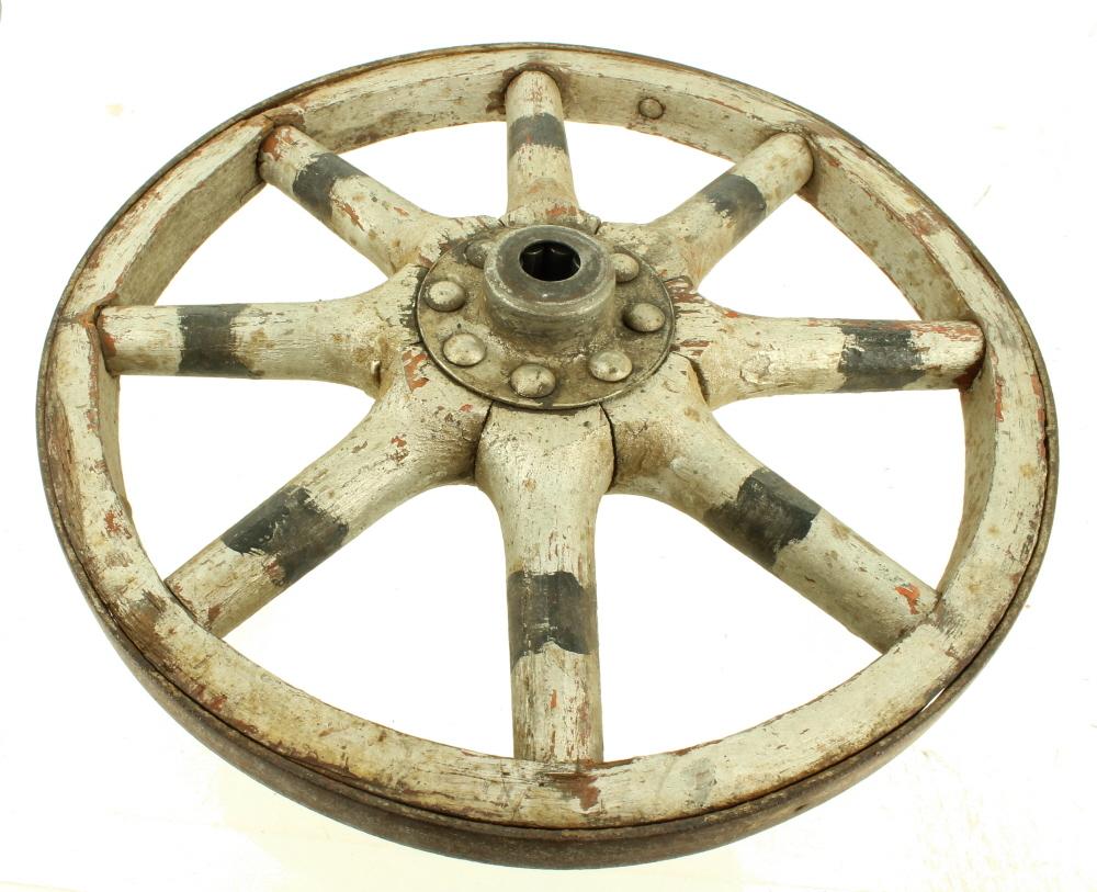 Buggy Wheel Hub : Antique folk art painted wagon carriage buggy wood spoke
