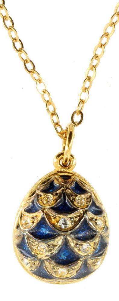 vintage sterling gold vermeil blue enamel rs faberge egg