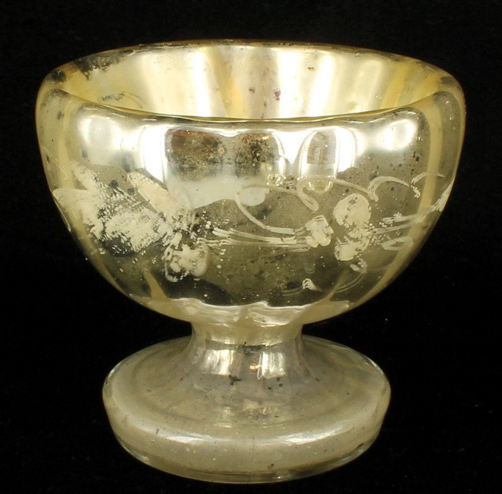 Mercury Glass: ANTIQUE MERCURY GLASS PAIR SMALL WINE CHALICE CHAMPAGNE
