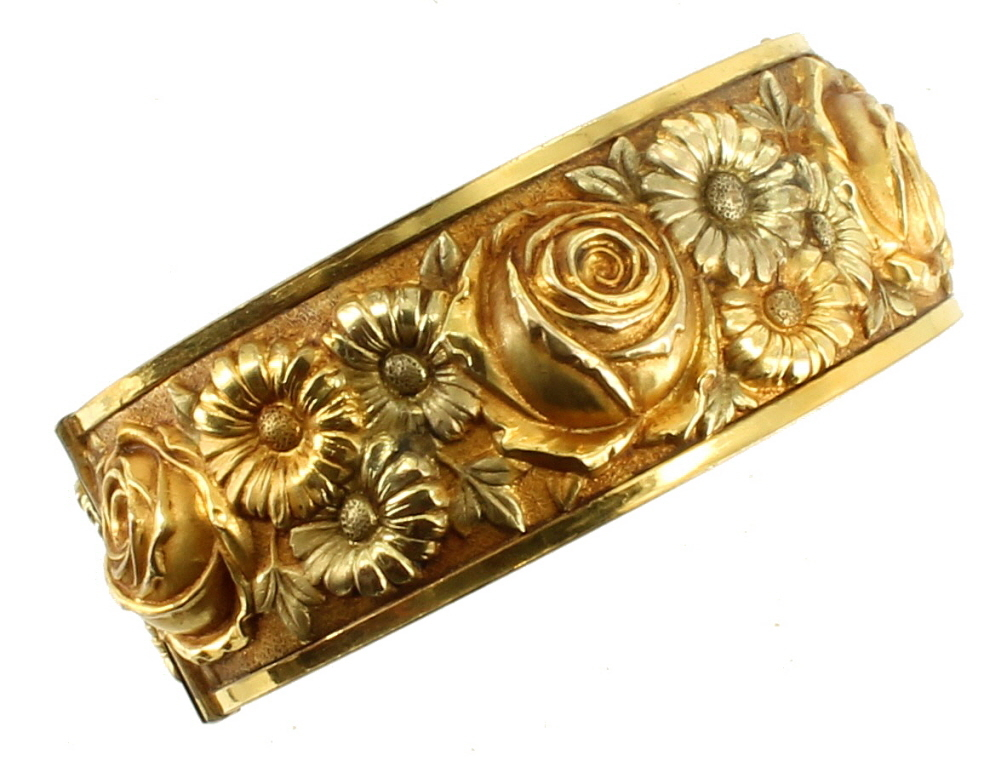 antique deco rose yellow green gf gold filled flower repousse bangle bracelet 7. Black Bedroom Furniture Sets. Home Design Ideas