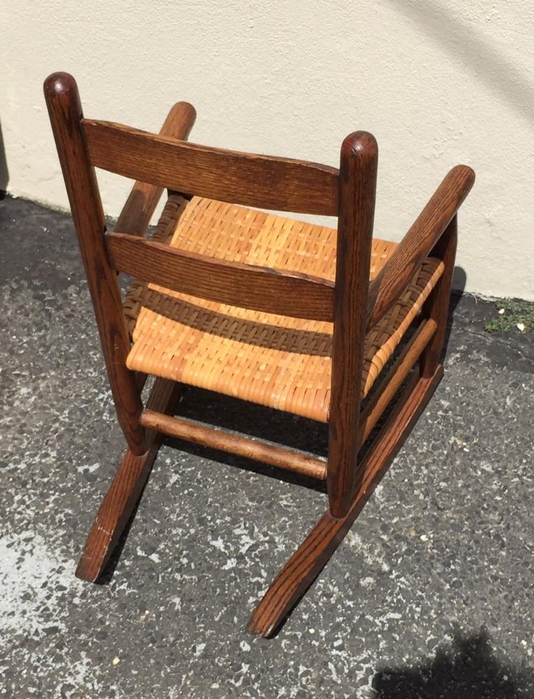 Antique Victorian Solid Oak Child Porch Doll Rocking Chair Rocker ...