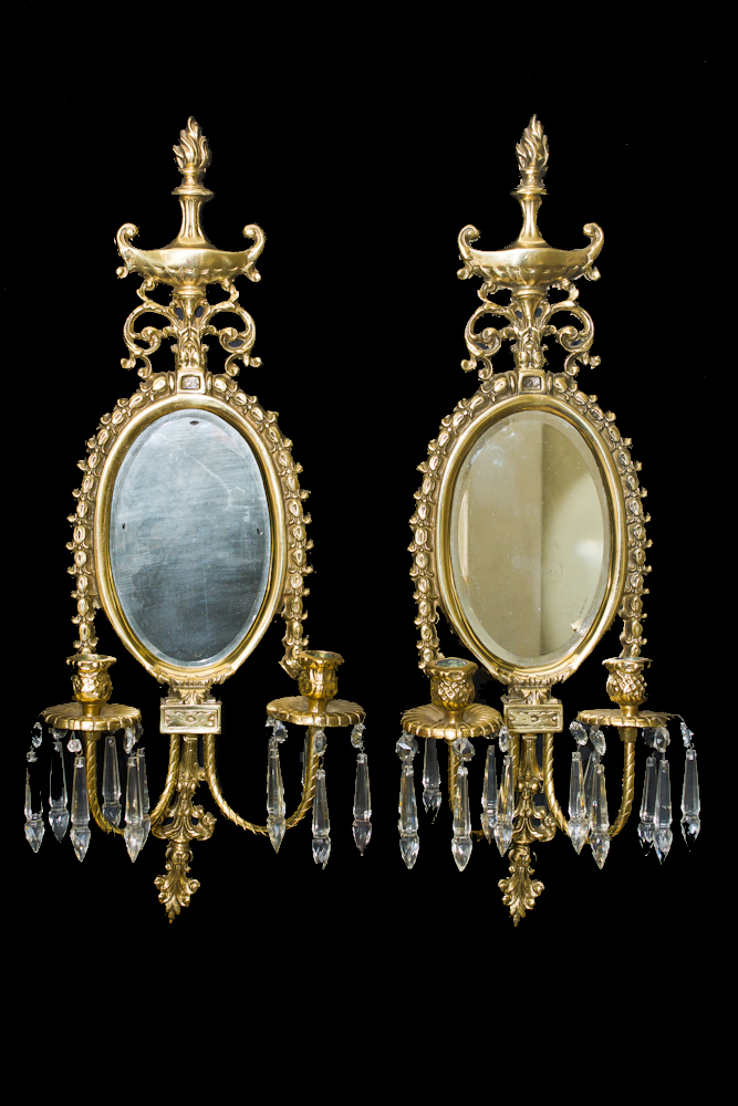 Wall Sconces With Hanging Crystals : VINTAGE BRASS NEOCLASSICAL CANDLE WALL HANGING MIRROR SCONCES CRYSTAL DANGLE 2 eBay