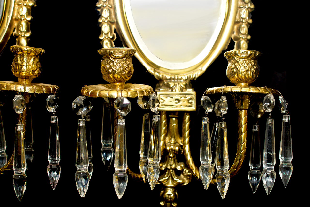 VINTAGE BRASS NEOCLASSICAL CANDLE WALL HANGING MIRROR SCONCES CRYSTAL DANGLE 2 eBay