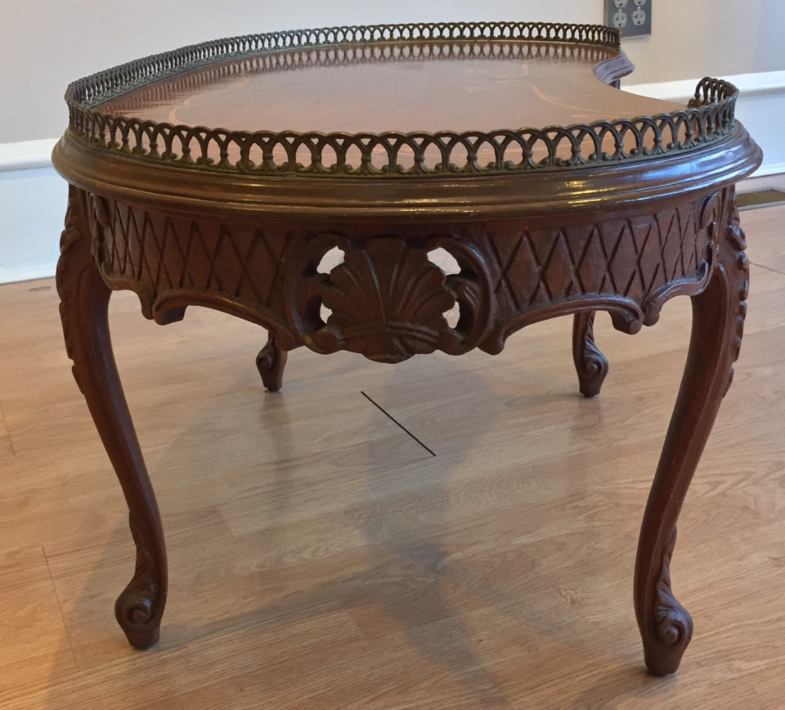 Vintage French Louis Xv Style Carved Inlaid Kidney Shape Wood Coffee Tea Couch Table