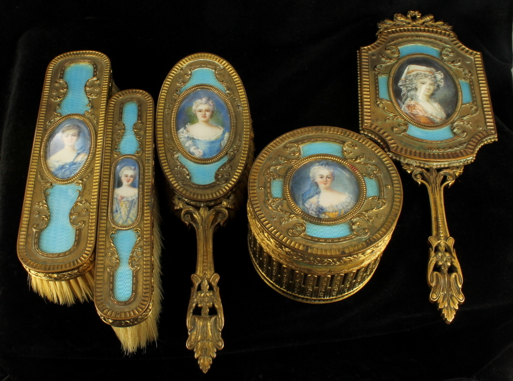 Antique Victorian French Bronze Blue Guilloche Enamel 5 Pc Dresser Vani
