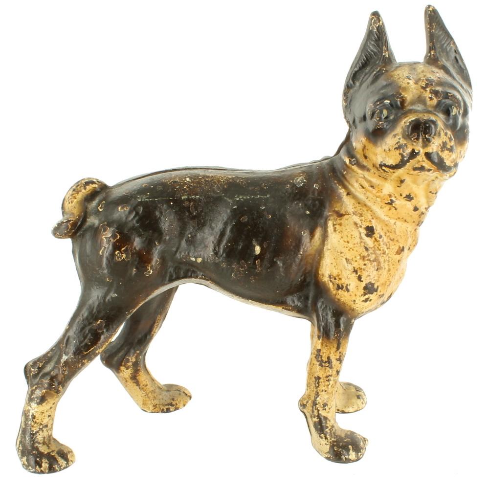 Antique hubley cast iron figural boston terrirer dog statue doorstop brown 9 ebay - Cast iron doorstop ...