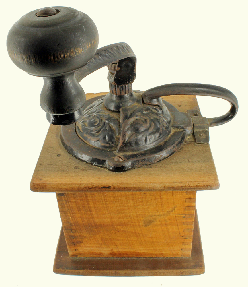 Old Coffee Grinders ~ Antique parkers national coffee mill grinder wooden box
