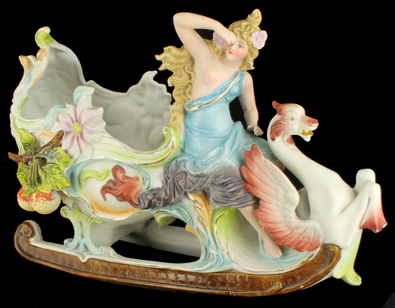 Antique Nouveau Bisque Porcelain Chariot Planter Kister