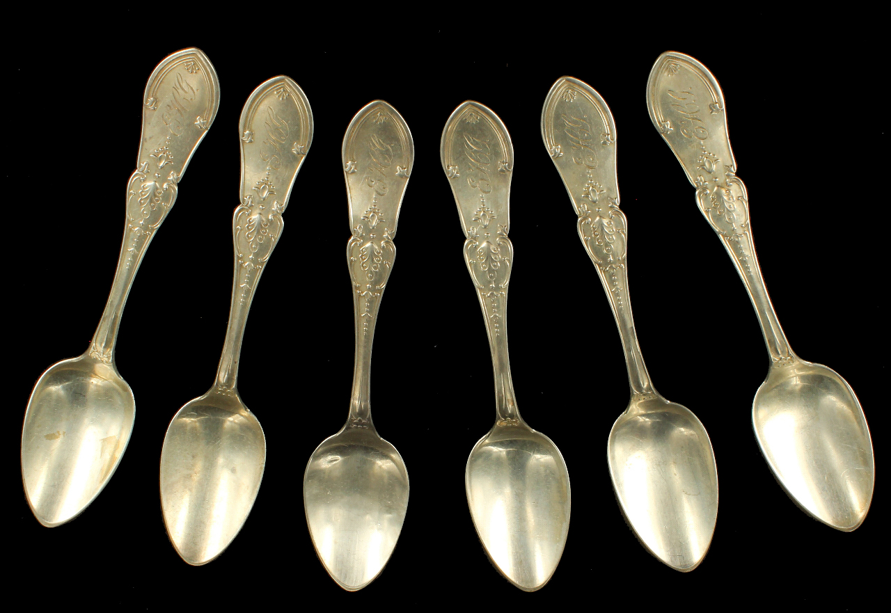 Antique victorian 19th century sterling silver set of 6 for 6 table spoons