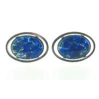 VINTAGE SWANK VENETIAN FOIL ART GLASS SILVER FLORENTINE GORGEOUS BLUE CUFFLINKS