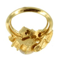Vintage 1960 S Venetian Art Glass Faux Opal Amp Diamond Ring