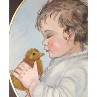VINTAGE BABY TODDLER W CHICK BIRD PORTRAIT PAINTING