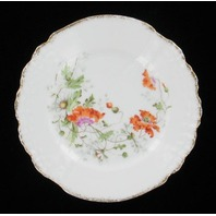 """ANTIQUE KPM MEISSEN FLORAL POPPIES DAISIES SHELL SCALLOPED CABINET PLATE 6"""""""