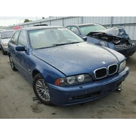 2003 Bmw 530I blue damaged left front for parts