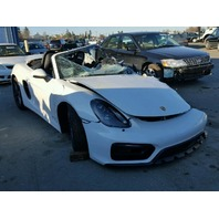 2015 Porsche Boxster GTS 3.4 white hit left front for parts