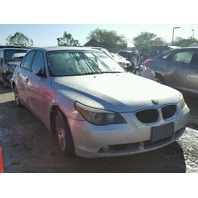 2005 BMW 530I Sedan 4Dr 3.0 Automatic Damage Right Rear Silver For Parts