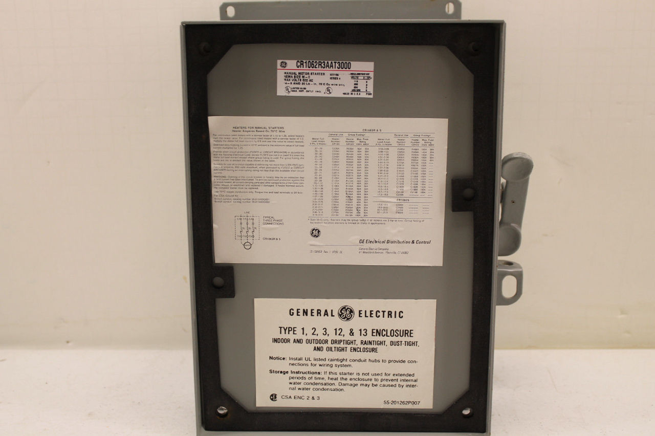 ge cr1062r3aat3000 manual motor starter plc surplus supply llc rh plcsurplussupply com About Electric Motor Starters Cr206 Magnetic Starter