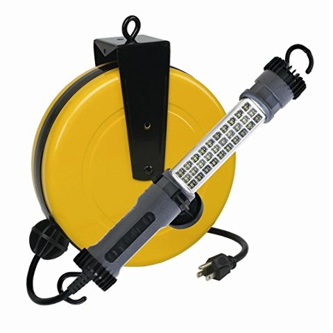 RETRACTABLE POWDER COATED STEEL REEL HOUSING WITH 30 SMD LED 300 LUMEN TASK LIGHT. ON-OFF SWITCH IN HANDLE. DUAL FOLDING SWIVEL HOOKS