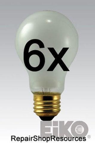 (6) EIKO Rough Service Bulb, 75 Watt, 130 Volt A19 Frosted Long Life Drop Light