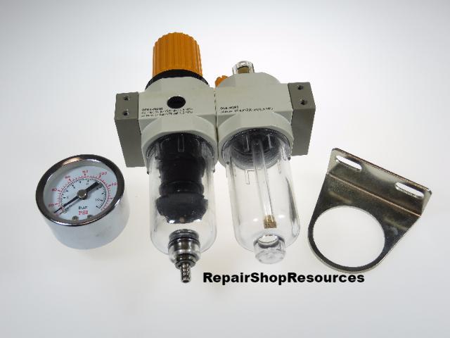 """PREMIUM COMPACT Tire Changer Air Filter Regulator Oiler 1/4"""" NPT"""