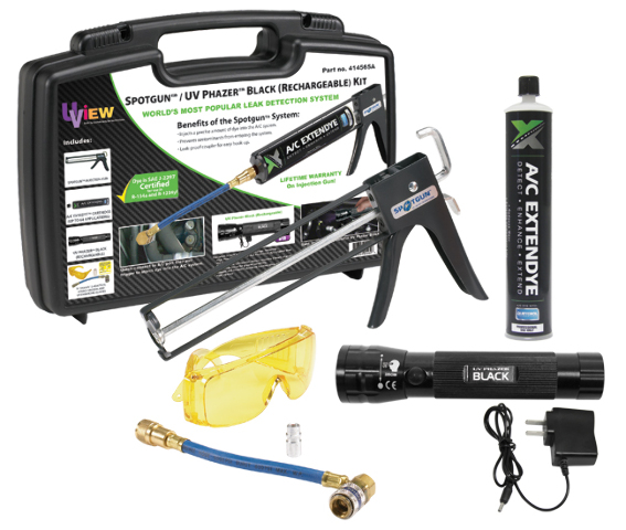 Spotgun�/ UV Phazer BLACK (Rechargeable) Kit: Injection system, Cordless and rechargeable UV  light, A/C ExtenDye cartridge (services up to 64 vehicles), R-12 & R-134a adapters, UV enhancing glasses, and storage case.