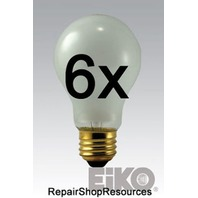 (6) EIKO Rough Service Bulb, 75 Watt, 130 Volt A19 Frosted Long Life Drop Light