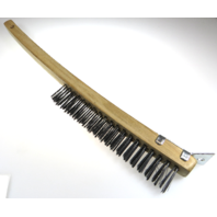 "Steel Bristle Brush with scraper, Brakes, Battery, Wheels, 14"" overall length"