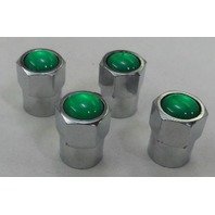 4 CHROME TPMS VALVE STEM CAPS N2 NITROGEN GREEN INSERT