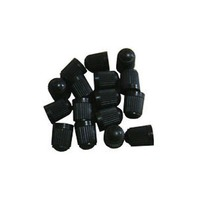 100 BLACK PLASTIC TIRE VALVE STEM CAPS WITH INNER SEAL GASKET