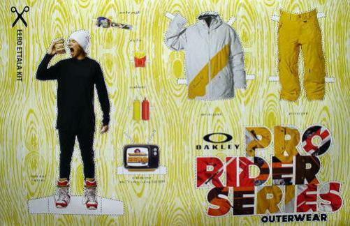 OAKLEY `09 EERO ETTALA snowboard kit BIG poster ~NEW~!!