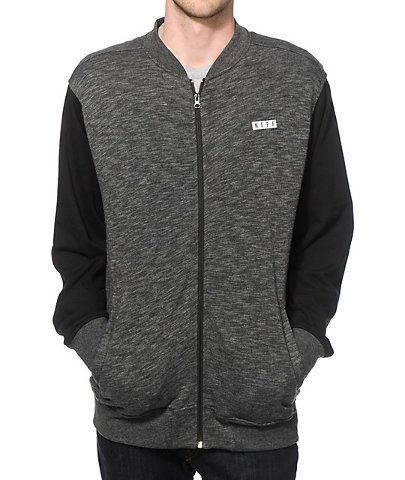 NEFF snowboard SKI skateboard DAILY FLEECE JACKET Charcoal mens MED NEW w/tag