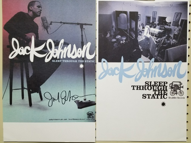 Jack Johnson 2008 Sleep Through The Static 2 side Autographed Promotional Poster