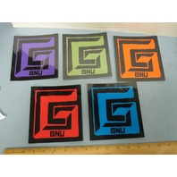 GNU snowboard 2014 *HUGE* 5 STICKER SET ~NEW~MINT CONDITION~!