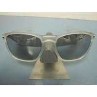 OAKLEY mens ENDURO sunglass MATTE CLEAR/CHROME IRIDIUM OO9223-29 NEW in baggy