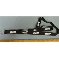 NEFF snowboard ski BMX skateboard WEBBED NYLON LANYARD keychain BLACK ~NEW~!!